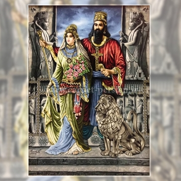 Persian Handmade Pictorial Carpet of Cyrus and Mandana in Persepolis, Pictorial Carpet Price, Pictorial Rug, Persian Tableau Rug, Woven in Iran, Iranian Hand Woven Pictorial Carpet